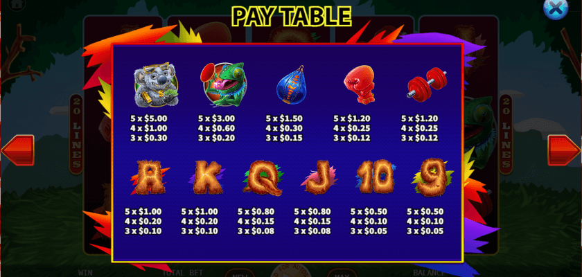 Boxing Roo - paytable